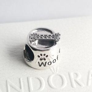 Pandora Dog Bowl silver charm with CZ